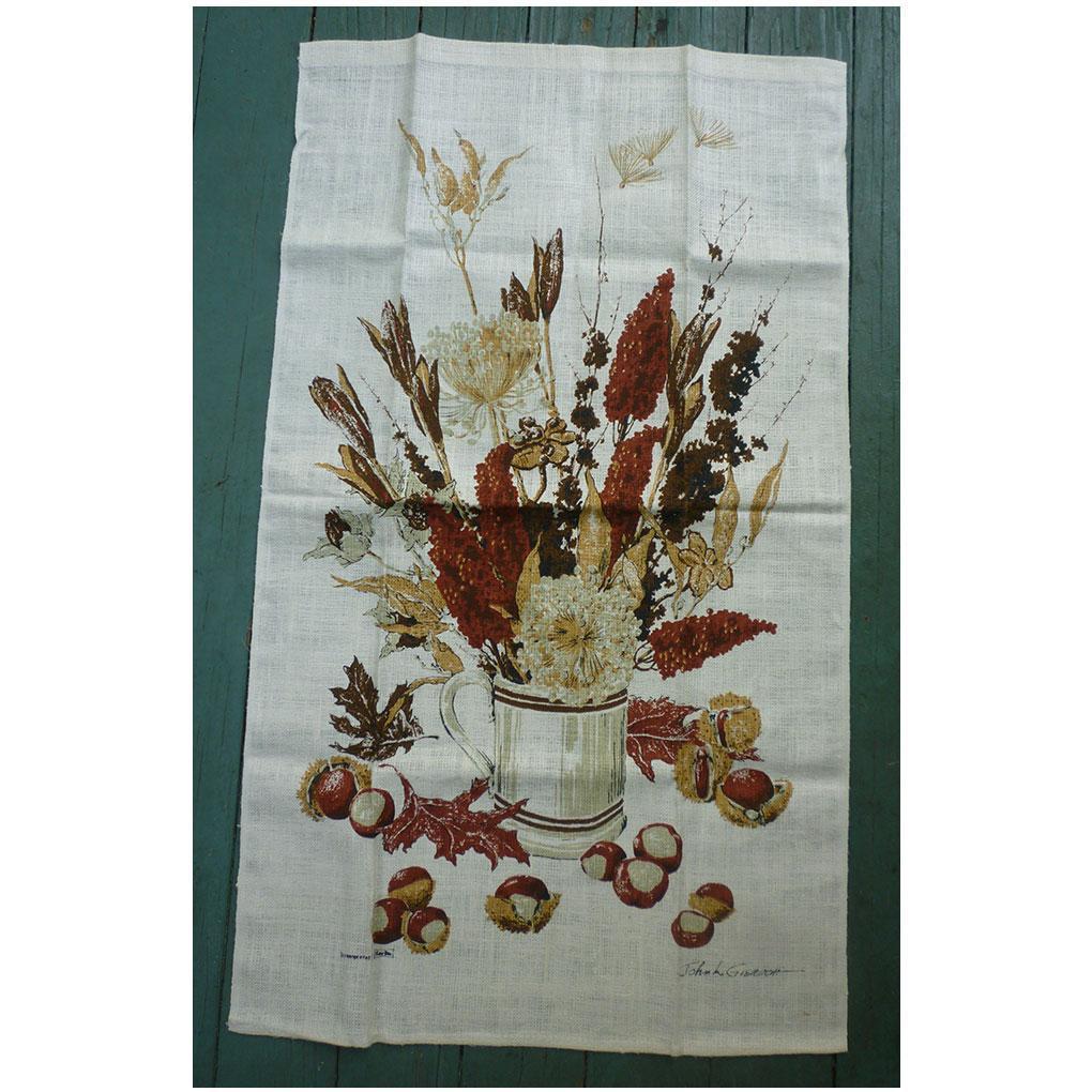 Vintage John L. Gieroch Tea Towel with Autumn Bouquet in Tankard
