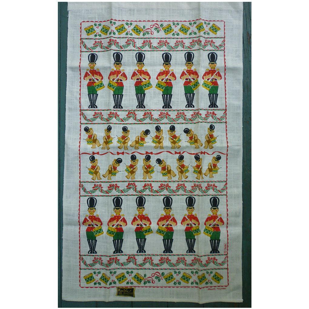 Kay Dee Christmas Drummers Linen Tea Towel Dawn Nunes Design