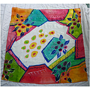 Large Colorful French Hand Painted Silk Scarf Daniel Vial