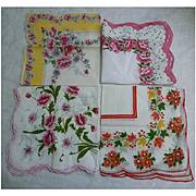 Pink Floral Group of 4 Vintage Handkerchiefs