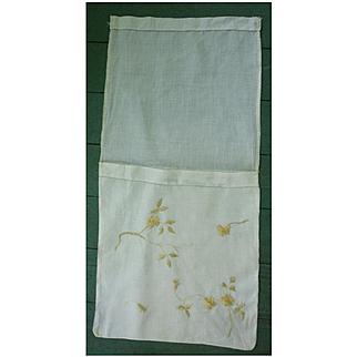 Embroidered Linen Handkerchief Bag
