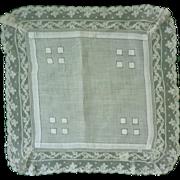 Fine White Linen with Wide Lace Border Handkerchief