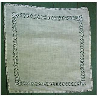 Fine White Linen with Intricate Openwork Border Handkerchief
