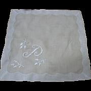 Fine White Linen Monogram P Handkerchief