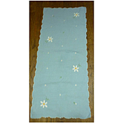 Embroidered and Appliqued Daisies Light Blue Runner