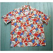 Hawaiian Reserve Postcard Print Hawaiian Aloha Surfer Shirt  L