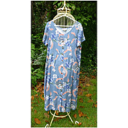 Hilo Hattie Cruise Ship and Leis Print Hawaiian Ladies Maxi Dress  L