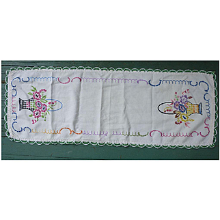 Fancy Flower Baskets Heavily Hand Embroidered Linen Runner