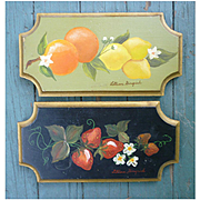 Pair Hand Painted Tole Style Fruit Plaques Signed