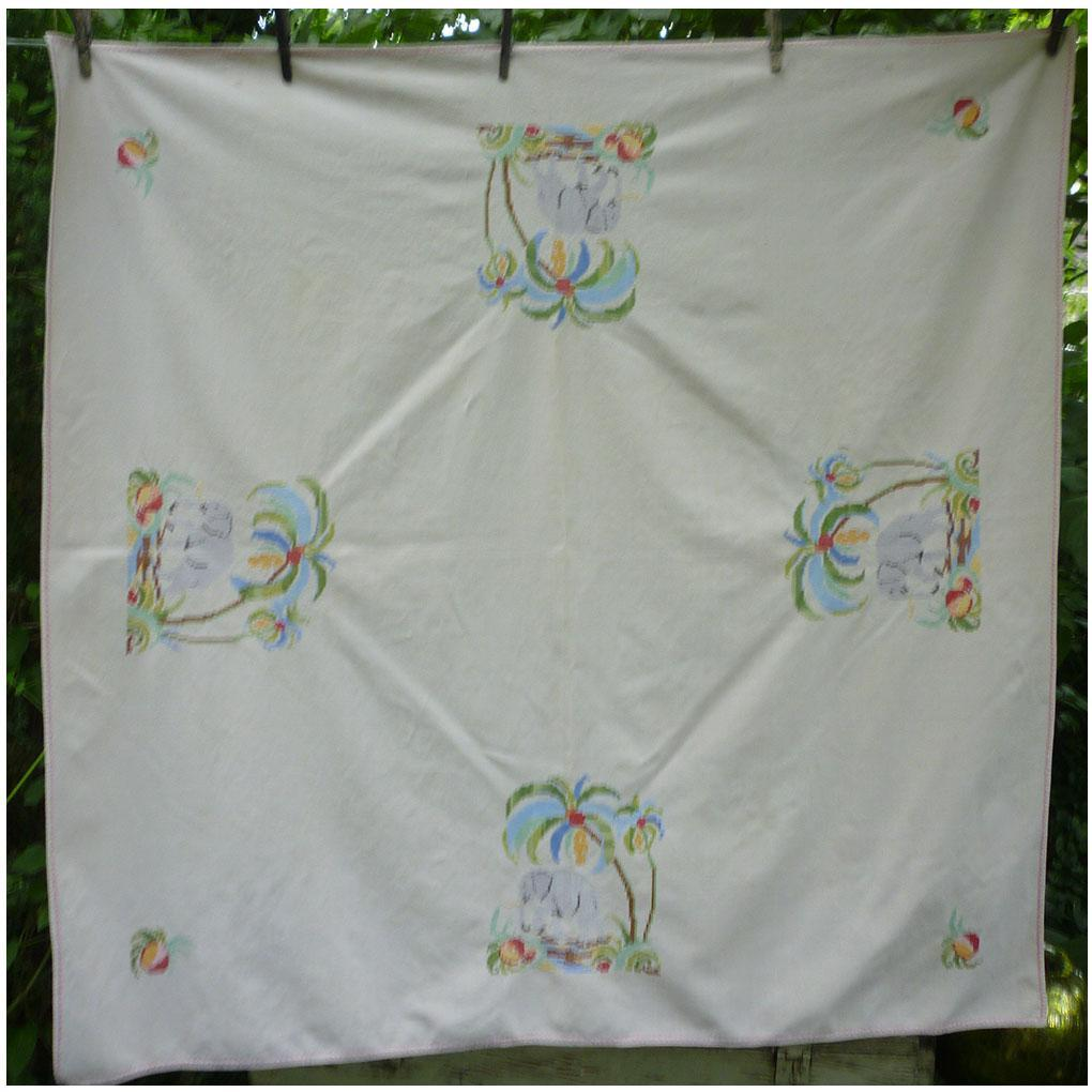 Lovely Linen Cross Stitch Embroidered Elephants and Palm Trees Tablecloth
