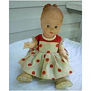 Sweet Molded 12 Inch Vinyl Doll in Fancy Polka Dot Dress Ensemble
