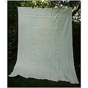 Fancy Center Elaborate Pattern White Cutter Chenille