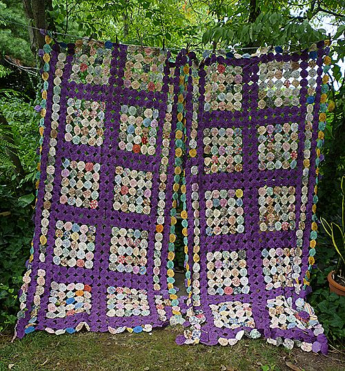 Exquisite 1930's Purple and Prints Fabrics Yo Yo Quilt