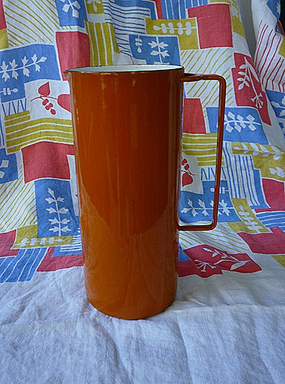 Dansk Kobenstyle Pumpkin Orange Enamelware Pitcher