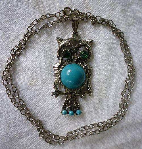 Owl Pendant on Chain Green Eyes Blue Tummy