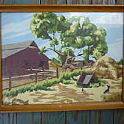 Horse by Barn Landscape Vintage Paint-by-Numbers Framed Painting