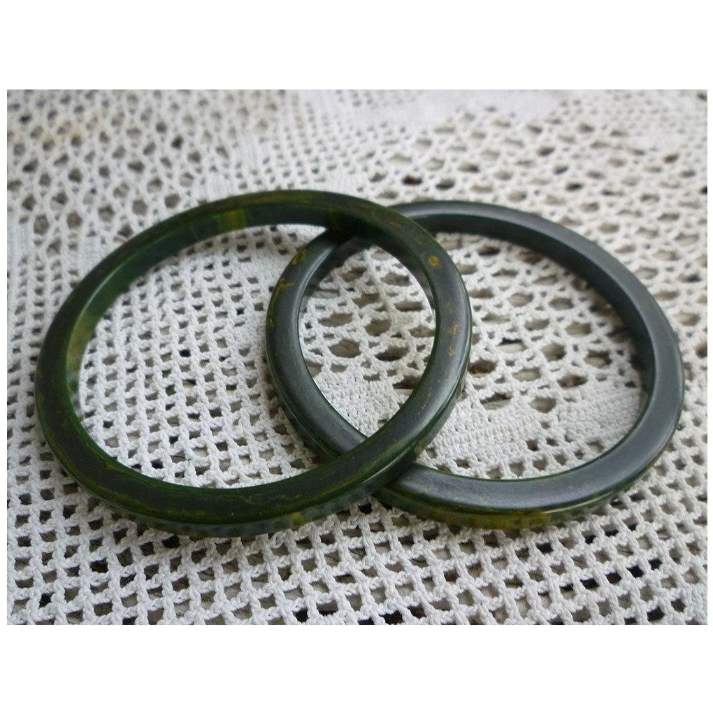 Spinach Green Stacker Set of 2 Bakelite Bangle Bracelets