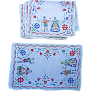 Set of 8 German Folkloric and Flower Motif Print Linen Placemats Napkins Vintage 1950s