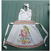 Stripes and Flower Print Vintage 1940s Full Apron