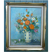 Bouquet III by Paula Zarnick Impressionist Flowers in Vase Still Life OOC Framed