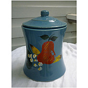 Vintage Blue Cookie Jar with Hand Painted Fruit