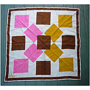 Vintage Vera Pop Art Big Squares Pink Brown Gold White Silk Scarf