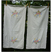 Pair Flower Baskets Embroidered Linen Runners