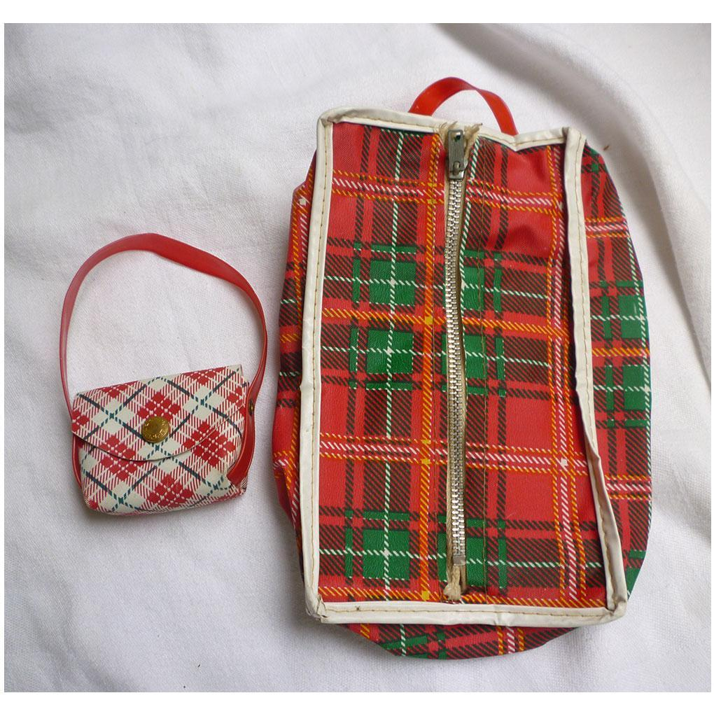 "Tartan Plaid Dress Bag and Tote Travel Set for 8"" Doll"