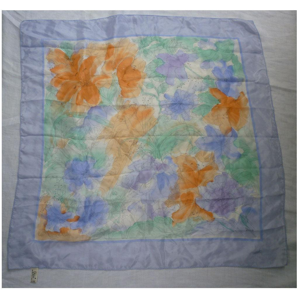 Vintage Vera Orange Lilies Violet Blue Flowers Silk Scarf