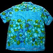 Hawaiian Togs Barkcloth Hawaiian Aloha Surfer Shirt  L