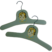 Pair 1930s Child's Blue Wood Hangers Sweet Little Boy