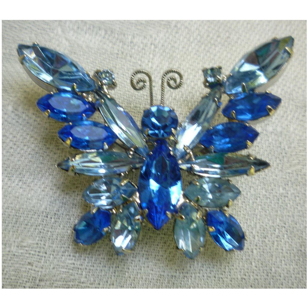 Beautiful Blues Juliana D&E Rhinestone Butterfly Brooch