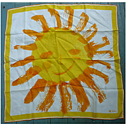 Vintage Vera Smiling Sun Flower Scarf Orange Yellow White