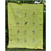 Charming Nursery Rhymes Quilt Hand Embroidered and Appliqued