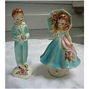 Rare Early Josef Originals Parasol Girl and Boy with Posy Couple Figurines