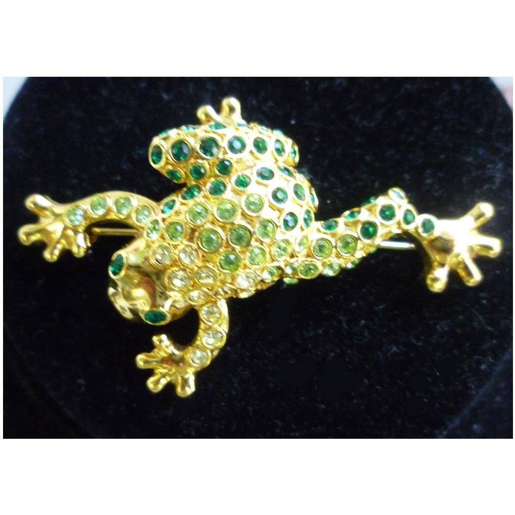 Lovely Leaping Frog Rhinestone Brooch by Monet