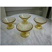 Set of Four Madrid Amber Indiana Glass Footed Sherbet Dishes