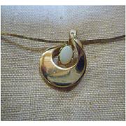Opal 12K GF Pendant Necklace Signed D.E.C.