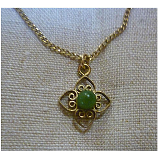 Delicate 12K GF Jade Pendant Necklace Signed Artistry