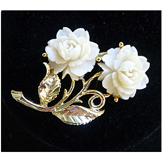 White Roses Celluloid and Goldtone Brooch
