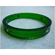 Translucent Green Carved Lucite Bangle Bracelet with Rhinestones