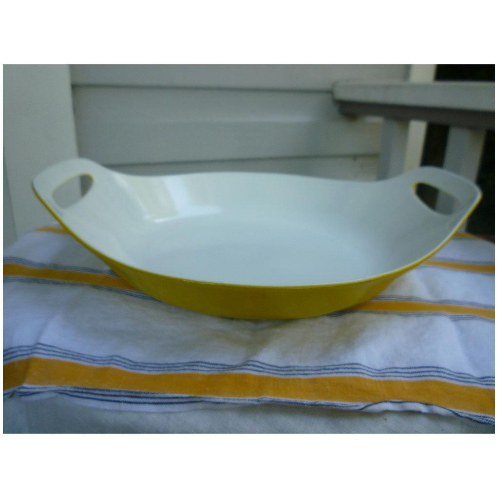 Yellow and White Copco Michael Lax Oval Open Buffet Server Paella Pan