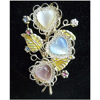 Three Hearts and Rhinestones Bouquet Brooch Signed KC