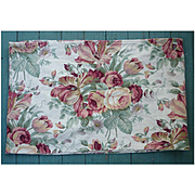 Big Pink Cottage Roses and Tulips Barkcloth Very Large Waverly Label Valence