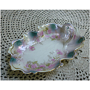 Floral and Gold Trim Porcelain Lemon Server Plate with Handle