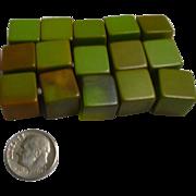 Sage and Olive Green Bakelite Cubes Set