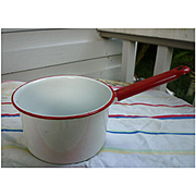 Vintage Red and White Enamel Saucepan