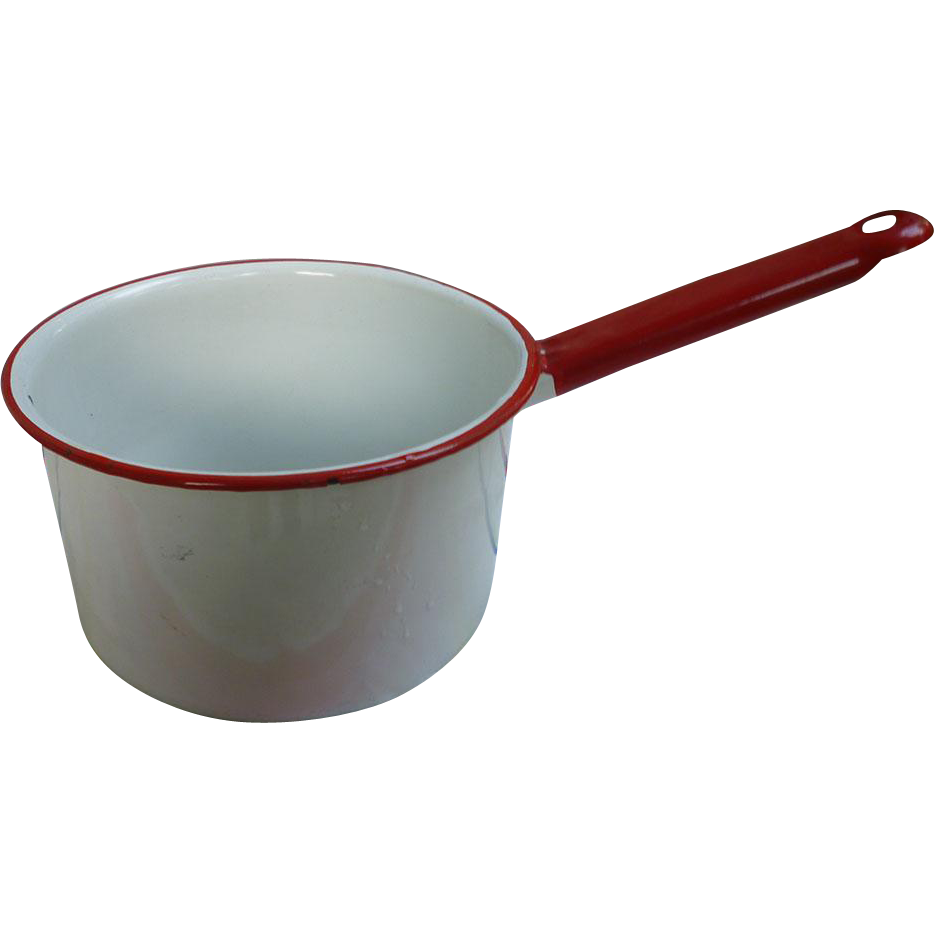 Vintage Red And White Enamel Saucepan Chez Marianne