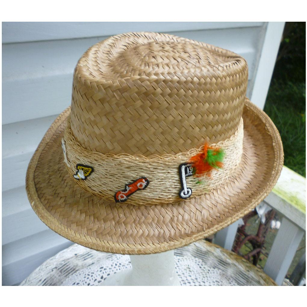 Sporty Straw Fedora with Fun Sports Trim Patches