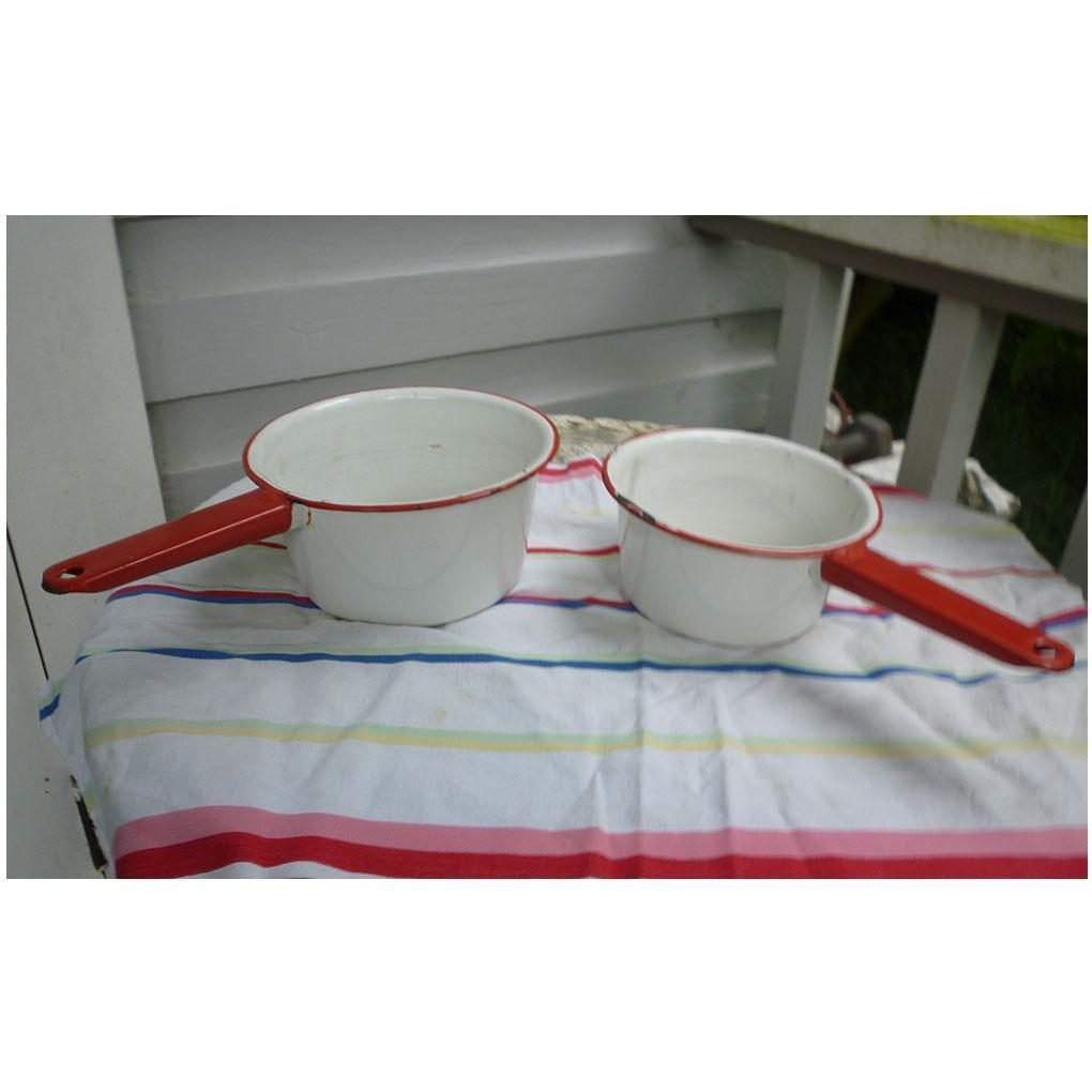 Vintage Red and White Enamel Pair of Saucepans